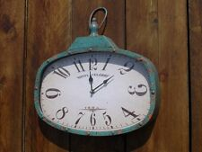 WALL CLOCK INDUSTRIAL RETRO VINTAGE LOOKING CLOCK BLUE DISTRESSED LOOK