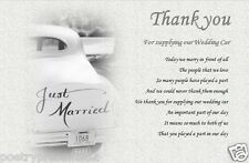 THANK YOU - For supplying our WEDDING CAR  (laminated gift)