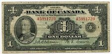 1935 Bank of Canada - One Dollar $1 Currency Note - Ottawa AJ733