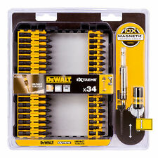 "New **34Pc Dewalt Pro Extreme Impact Torsion Bit Set + 3"" Magnet SCREW Holder"