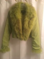 Green FOX Real DETACHABLE Fur COLLAR CUFFS Nicole Miller Coat Bollero Jacket  S