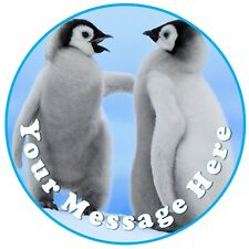 Christmas cute penguin happy feet personalised round cake topper icing