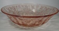 "ANTIQUE VINTAGE 1935 SHARON PINK DEPRESSION FEDERAL GLASS 10 1/4"" SALAD BOWL"