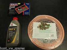 COPPER BRAKE PIPE KIT +NUTS 3/16 & BRAKE FLUID DOT4  1LITRES COMMA &FLARING TOOL