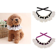 Pet Dog Cat Puppy Lace Necklace Neck Tie Pearl Bowknot Collar Gift