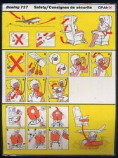 CP Air  Boeing B 737 SAFETY CARD canadian  pacific airline instruction ee e128