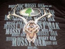 New Licensed Mossy OaK Deer Skull Buck Hunting T-Shirt MIDNIGHT BLACK Size L ga