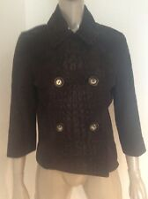 Celine Brown Goat Suede Double Breasted Cropped Jacket Crocodile Embossed Sz 42