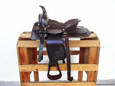 "10"" CLASSIC BROWN WESTERN COWBOY LEATHER TRAIL HORSE PONY YOUTH SADDLE TACK"