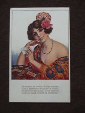 PRETTY SPANISH LADY WITH FLOWER IN HER HAIR Vtg POSTARD