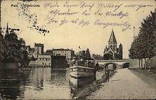Metz Lothringen France AK mit Prüfstempel 1916 Blick auf die Mittelbrücke Schiff