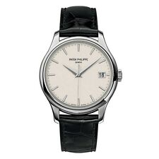 Patek Philippe Calatrava Mechanical Ivory Dial Leather Mens Watch 5227G-001