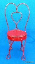 Nice Heavy Ice Cream Parlor Red Metal Doll or Bear Soda Fountain Chair 17 1/2""