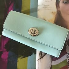 Coach Seaglass Smooth Leather Turnlock Slim Envelope Wallet 53663 NWT