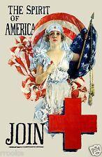 Spirit of America Red Cross Nurse WWI Vintage Fine Art Print / Poster