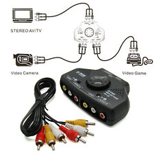 2 Way 2 Input 1 Output Audio Video AV TV Selector Switcher Adapter w/ RCA Cable