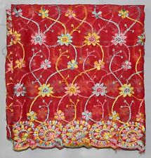 VINTAGE RED EMBROIDERY DUPATTA STOLE SCARF GEORGETTE INDIAN BRIDAL VEIL HIJAB L""