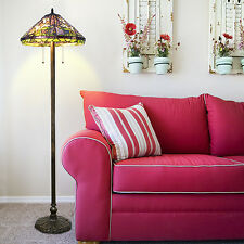 """Tiffany Style Calla Lily Floor Lamp Handcrafted 18"""" Shade"""