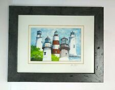 Lighthouse Framed Matted Print Signed Gene Rizzo Fire Lights Over Georgia VTG