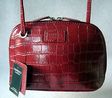 Osprey London-Libby Small Crossbody Bag In Finto Coccodrillo Pelle Rossa-NUOVO RRP £ 95