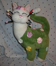 "Whimsy Clay Amy Lacombe Cat Roses Whimsical 16""  Plush Soft Toy Stuffed Animal"