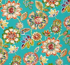 Outdoor/ Indoor ~ Upholstery ~ Retro Floral on Turquoise ~ Fabric ~ per 1/4 yard