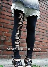 Women lady Black Punk Hole ripped Slit Split footless pantyhose tights Pants