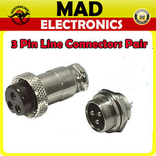3 Pin Female and Male Plug Chassis Mount Connectors Pair Power Micphone