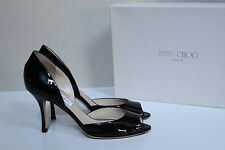 New sz 8 / 38 Jimmy Choo Logan d'Orsay Black Patent Leather Peep Toe Pump Shoes