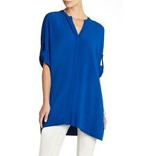 NEW BCBG LARKSPURBLUE BEA OVERSIZED BUTTON DOWN TUNIC TOP FIQ1P520/M660A SZ M/L