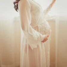 Sexy Lace Maternity Pregnant round neck Dress Photography Gown Coat Photo Props