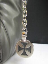 New Men Women Silver Metal Round Fashion Key Chain Black Cross Jeans Bag Charm