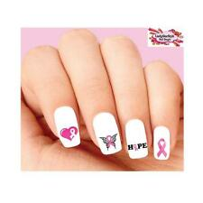 Waterslide Nail Decals Set of 20 - Pink Breast Cancer Awareness Ribbon Assorted