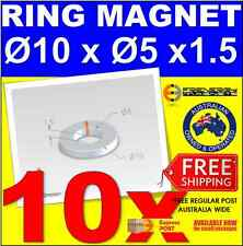 10X Ring Neo Rare Earth Magnet OD10 x ID5 x H1.5mm N42