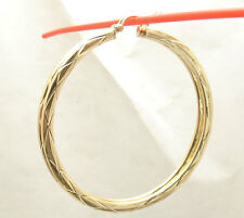 "2 1/4"" 55mm Large Diamond Cut Flat Hoop Earrings REAL 10K Yellow Gold"