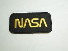 NASA Space Program Official Emblem Embroidered Iron On Patch Yellow Thread