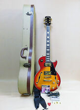 Haze E-239 Semi-Hollow Les Paul Guitar - Cherry Sunburst + Tweed HARD Case Etc.