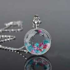 Classic Living Memory Floating Clear Crystal Long Chain Circle Necklace Pendant