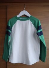 New BODEN Boys 4-5ys Long-Sleeved Raglan T-shirt Top Green Cream