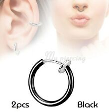 2pcs. Titanium IP Non-Piercing Fake Illusion Clips-On Hoop Ear Septum Nose Hoop