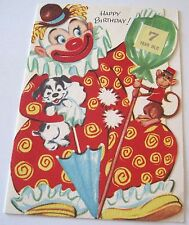 Used Vtg Greeting Card Clown w Puppy & Monkey for Seven Year Old Birthday