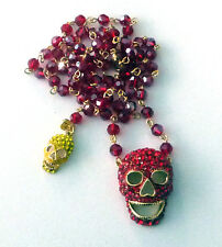 Butler and Wilson 2 Red Yellow Crystal Skull Long  Beaded Rosary Necklace NEW
