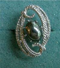 """""""EBB TIDE"""" Ring with Black Hematite Type Stone - Sarah Coventry Jewelry - Vtg"""