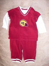 3-6 month boys Old Navy maroon & ivory 100% cotton football top & pants outfit