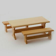 Dolls House Light Wood Table and Two Benches    in 12th Scale