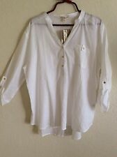 Hester & Orchard Peasant Top Blouse Shirt Tunic Boho White XL X-Large NEW #I11