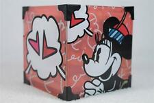 Romero Britto-'Mickey & Minnie Mouse'-Square Glass Candle Holder-#4019371 NIB