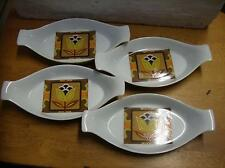 Set 4 retro vintage single serving / dishes . Orange / brown 1960's 1970's
