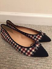 JCrew $118 Gemma Cap-Toe Flats Tweed Sz 8.5 Ivory Burgundy Navy F5518 SOLD OUT!