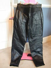 Black Leather Biker/Motorcycle trousers unusual ribbing at back & knee - 34 inch